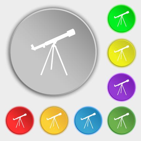 planetarium: Telescope icon sign. Symbol on eight flat buttons. Vector illustration Illustration