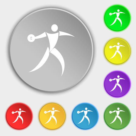 discus: Discus thrower icon sign. Symbol on eight flat buttons. Vector illustration