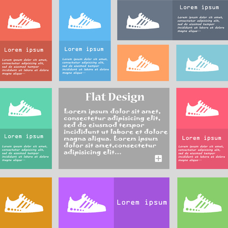 scamper: Sneakers icon sign. Set of multicolored buttons with space for text. Vector illustration