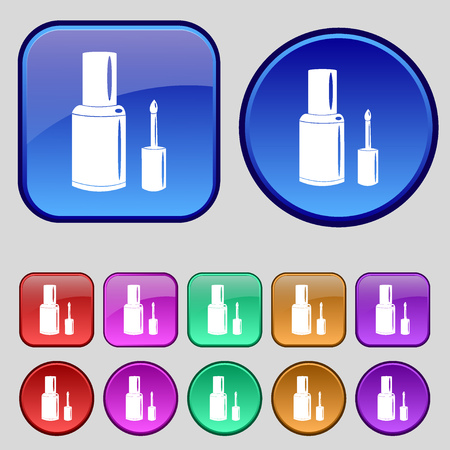 nailpolish: NAIL POLISH BOTTLE icon sign. A set of twelve vintage buttons for your design. Vector illustration Illustration