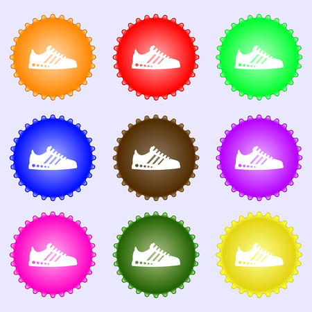scamper: Sneakers icon sign. Big set of colorful, diverse, high-quality buttons. Vector illustration