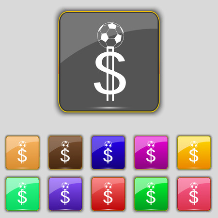 collector: betting on football, Money Collector, bookmaker icon sign. Set with eleven colored buttons for your site. Vector illustration