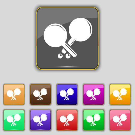 racquetball: Tenis icono de la muestra de cohetes. Set con once botones de colores para su sitio. ilustraci�n vectorial