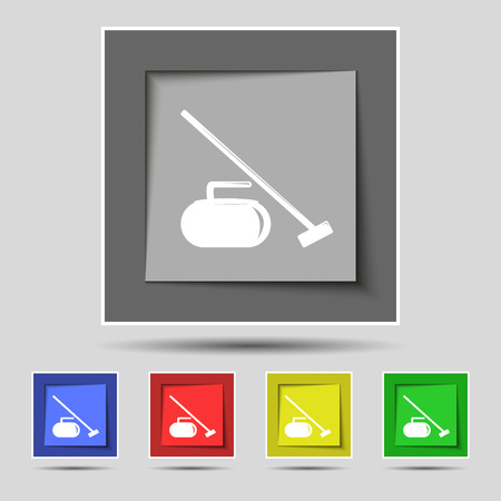 curling stone: The stone for curling icon sign on original five colored buttons. Vector illustration