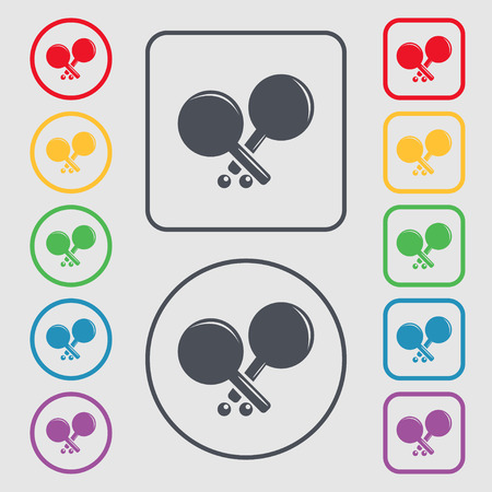 racquetball: Tennis rocket icon sign. symbol on the Round and square buttons with frame. Vector illustration