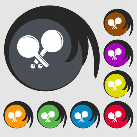 racquetball: icono de cohetes tenis. Símbolos en ocho botones de colores. ilustración vectorial Vectores