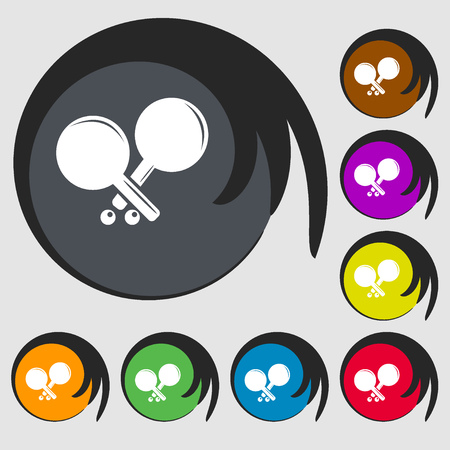 racquetball: Tennis rocket icon. Symbols on eight colored buttons. Vector illustration Vectores