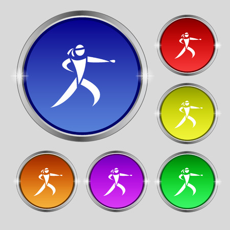 jujitsu: Karate kick icon sign. Round symbol on bright colourful buttons. Vector illustration