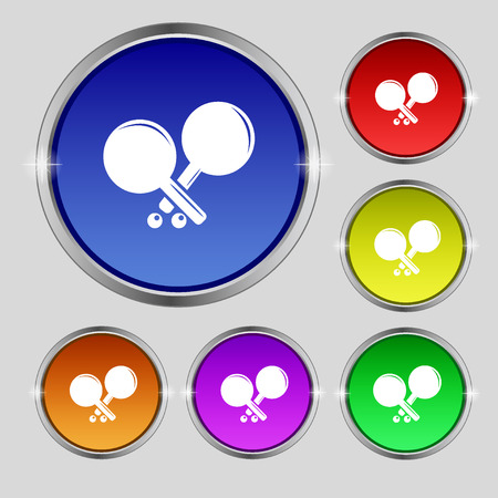racquetball: Tennis rocket icon sign. Round symbol on bright colourful buttons. Vector illustration