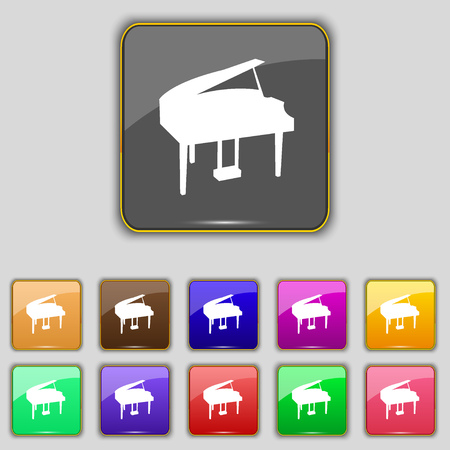 classical arts: Grand piano icon sign. Set with eleven colored buttons for your site. Vector illustration