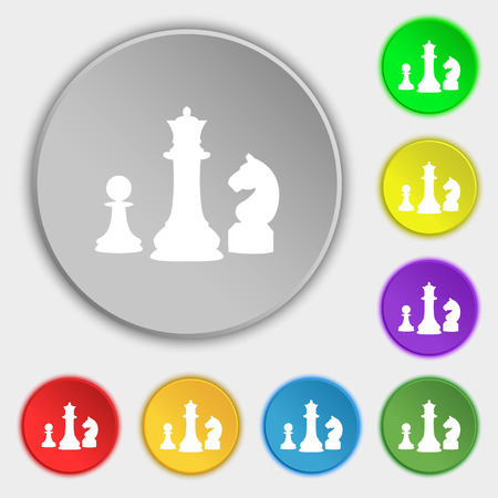 interface scheme: chess Game icon sign. Symbol on eight flat buttons. Vector illustration Illustration