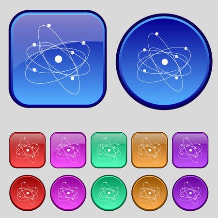 the big bang: physics, atom, big bang icon sign. A set of twelve vintage buttons for your design. Vector illustration Illustration