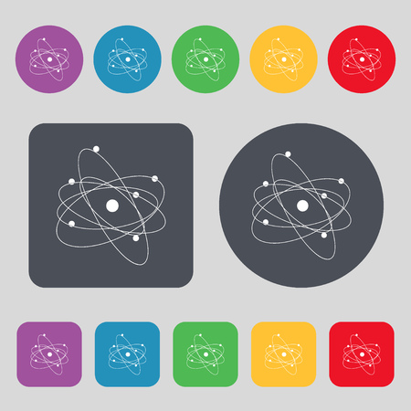 atomic nucleus: physics, atom, big bang icon sign. A set of 12 colored buttons. Flat design. Vector illustration