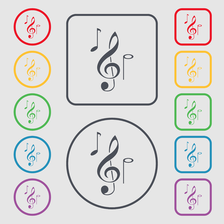 crotchets: musical notes icon sign. symbol on the Round and square buttons with frame. Vector illustration