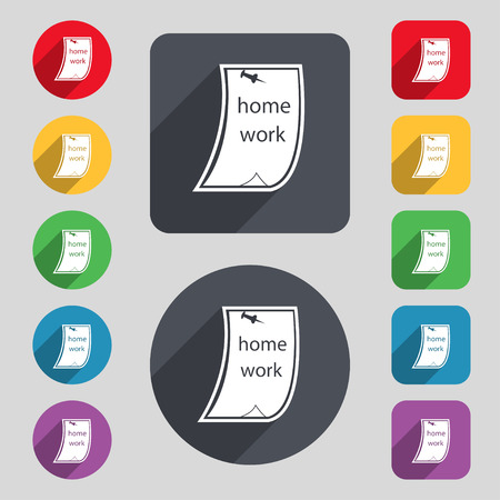 homework: Homework icon sign. A set of 12 colored buttons and a long shadow. Flat design. Vector illustration