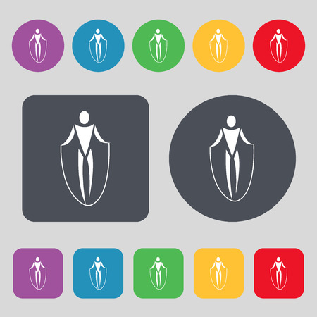 calisthenics: jump rope icon sign. A set of 12 colored buttons. Flat design. Vector illustration