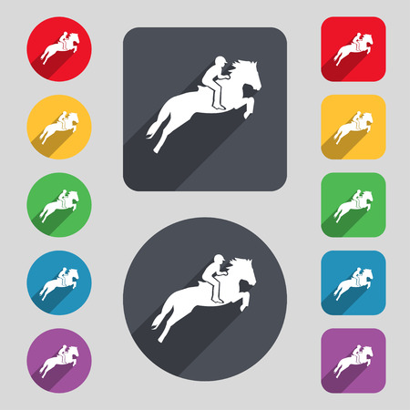 Horse race. Derby. Equestrian sport. Silhouette of racing horse icon sign. A set of 12 colored buttons and a long shadow. Flat design. Vector illustration