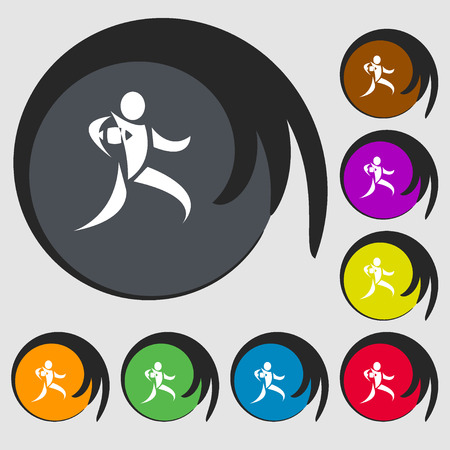 rugby player: Rugby player running with ball icon. Symbols on eight colored buttons. Vector illustration