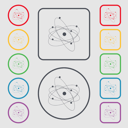 the big bang: physics, atom, big bang icon sign. symbol on the Round and square buttons with frame. Vector illustration