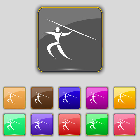 javelin: Summer sports, Javelin throw icon sign. Set with eleven colored buttons for your site. Vector illustration