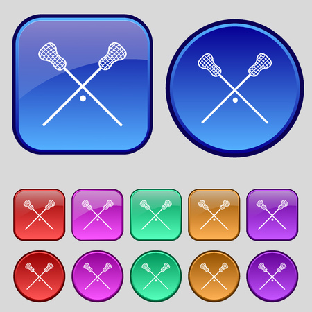 lax: Lacrosse Sticks crossed icon sign. A set of twelve vintage buttons for your design. Vector illustration