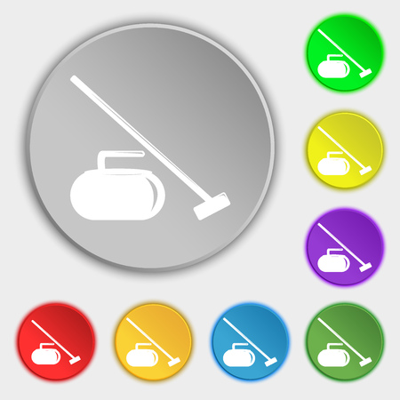 curling stone: The stone for curling icon sign. Symbol on eight flat buttons. Vector illustration Illustration