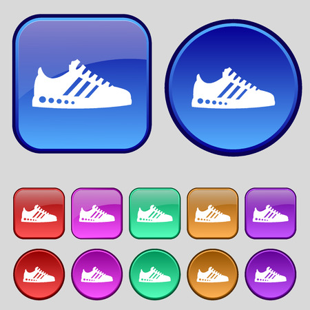 scamper: Sneakers icon sign. A set of twelve vintage buttons for your design. Vector illustration Illustration
