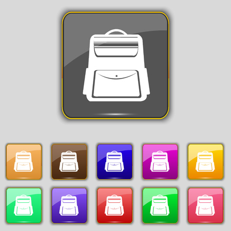 school backpack: School Backpack icon sign. Set with eleven colored buttons for your site. Vector illustration