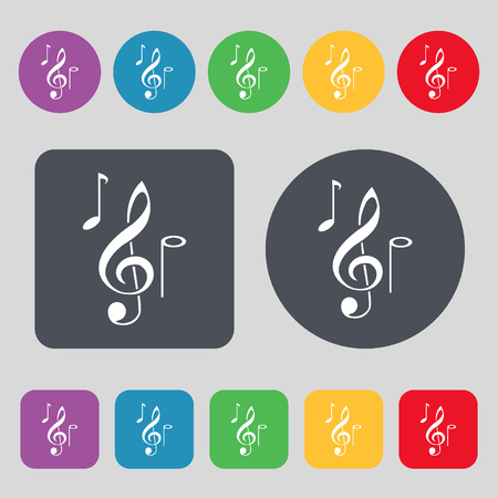 crotchets: musical notes icon sign. A set of 12 colored buttons. Flat design. Vector illustration Illustration