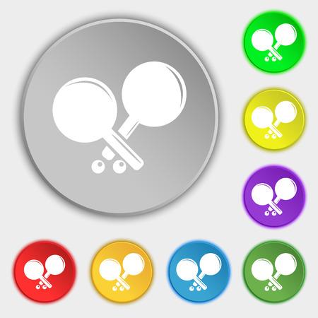 racquetball: Tenis icono de la muestra de cohetes. S�mbolo en ocho botones planos. ilustraci�n vectorial Vectores