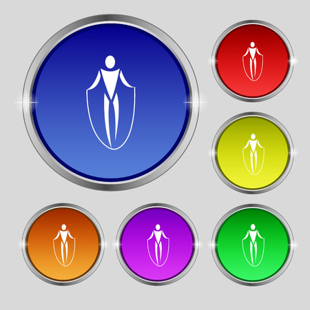 calisthenics: jump rope icon sign. Round symbol on bright colourful buttons. Vector illustration Illustration