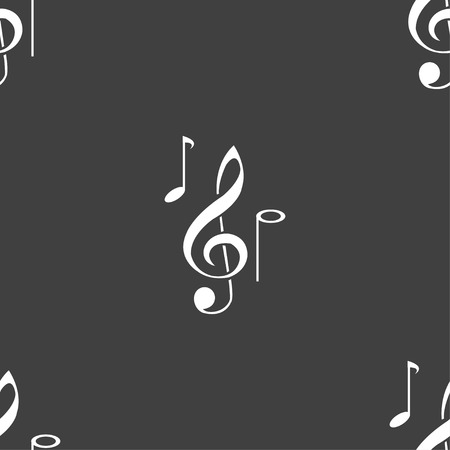 crotchets: musical notes icon sign. Seamless pattern on a gray background. Vector illustration