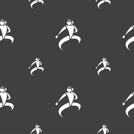 jujitsu: Karate kick icon sign. Seamless pattern on a gray background. Vector illustration