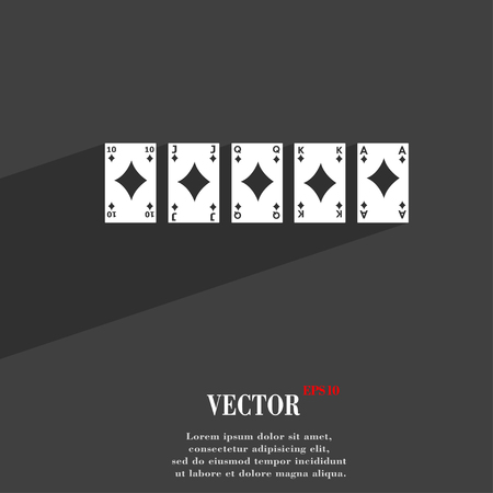 straight flush: A royal straight flush playing cards poker hand in hearts symbol Flat modern web design with long shadow and space for your text. Vector illustration Illustration