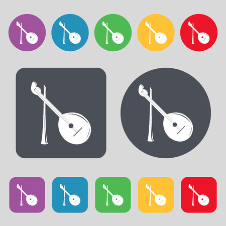 balalaika: Balalaika icon sign. A set of 12 colored buttons. Flat design. Vector illustration