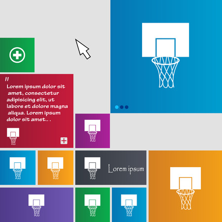 backboard: Basketball backboard icon sign. buttons. Modern interface website buttons with cursor pointer. Vector illustration