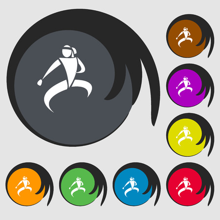 Kick: Karate kick icon. Symbols on eight colored buttons. Vector illustration Illustration