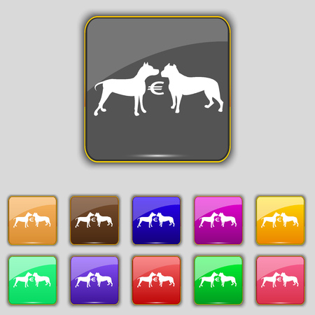 kampfhund: Wetten auf Hundek�mpfe Symbol Zeichen. Set mit elf farbigen Tasten f�r Ihre Website. Vektor-Illustration Illustration