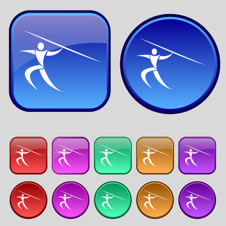 javelin: Summer sports, Javelin throw icon sign. A set of twelve vintage buttons for your design. Vector illustration