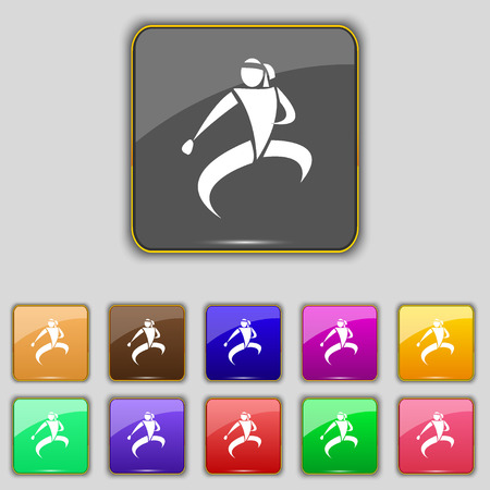 jujitsu: Karate kick icon sign. Set with eleven colored buttons for your site. Vector illustration