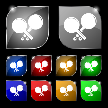 racquetball: Tennis rocket icon sign. Set of ten colorful buttons with glare. Vector illustration