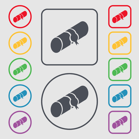 pencil case: pencil case icon sign. symbol on the Round and square buttons with frame. Vector illustration Illustration