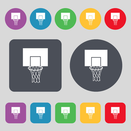 backboard: Basketball backboard icon sign. A set of 12 colored buttons. Flat design. Vector illustration