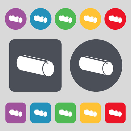 pencil case: pencil case icon sign. A set of 12 colored buttons. Flat design. Vector illustration Illustration