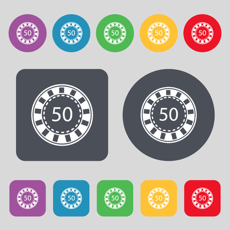 pursuit: Gambling chips icon sign. A set of 12 colored buttons. Flat design. Vector illustration Illustration
