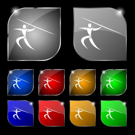 lanzamiento de jabalina: Deportes de verano, lanzamiento de jabalina icono de la muestra. Conjunto de diez botones de colores con reflejos. ilustraci�n vectorial