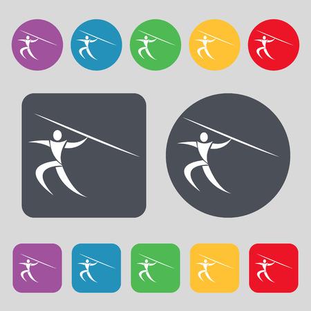 lanzamiento de jabalina: Deportes de verano, lanzamiento de jabalina icono de la muestra. Un conjunto de 12 botones de colores. Diseño plano. ilustración vectorial Vectores