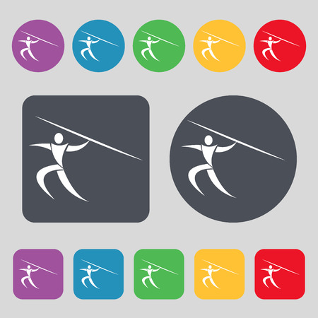 javelin: Summer sports, Javelin throw icon sign. A set of 12 colored buttons. Flat design. Vector illustration