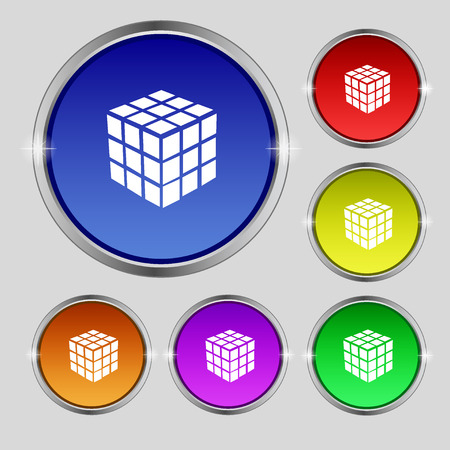 cube puzzle: A three sided cube puzzle box in 3D icon sign. Round symbol on bright colourful buttons. Vector illustration