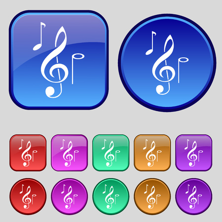 crotchets: musical notes icon sign. A set of twelve vintage buttons for your design. Vector illustration